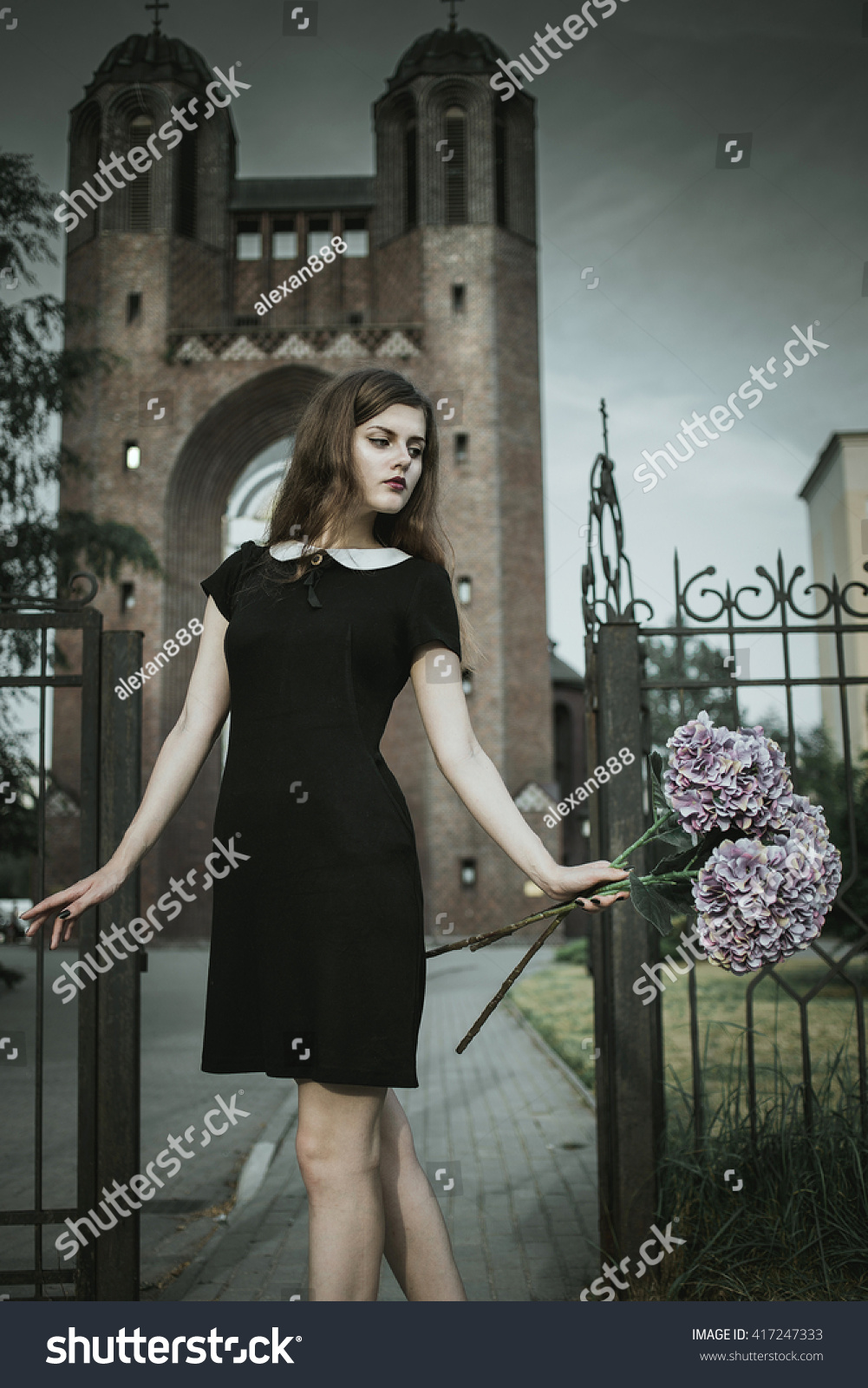 2c815bb7cad1 Cute Goth Girl Wearing Black Dress Stock Photo (Edit Now) 417247333 ...