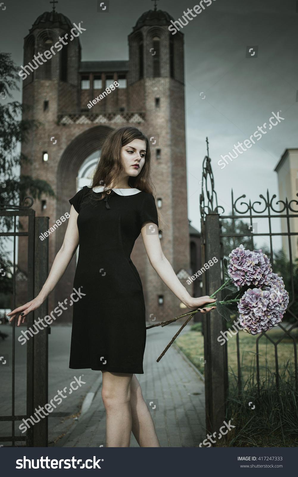 c7994ae19 Cute Goth Girl Wearing Black Dress Stock Photo (Edit Now) 417247333 ...