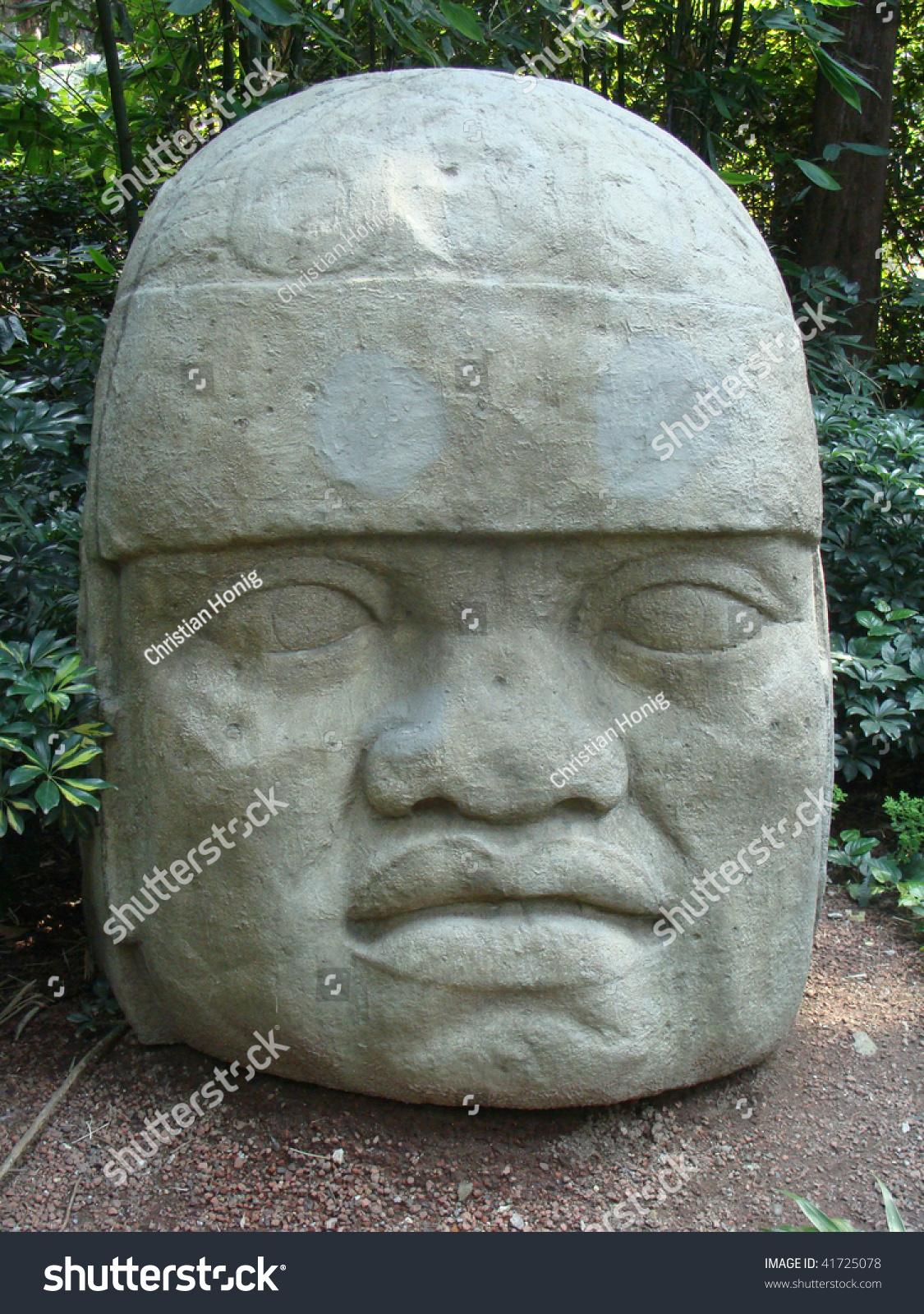 Stone carved olmec head stock photo shutterstock