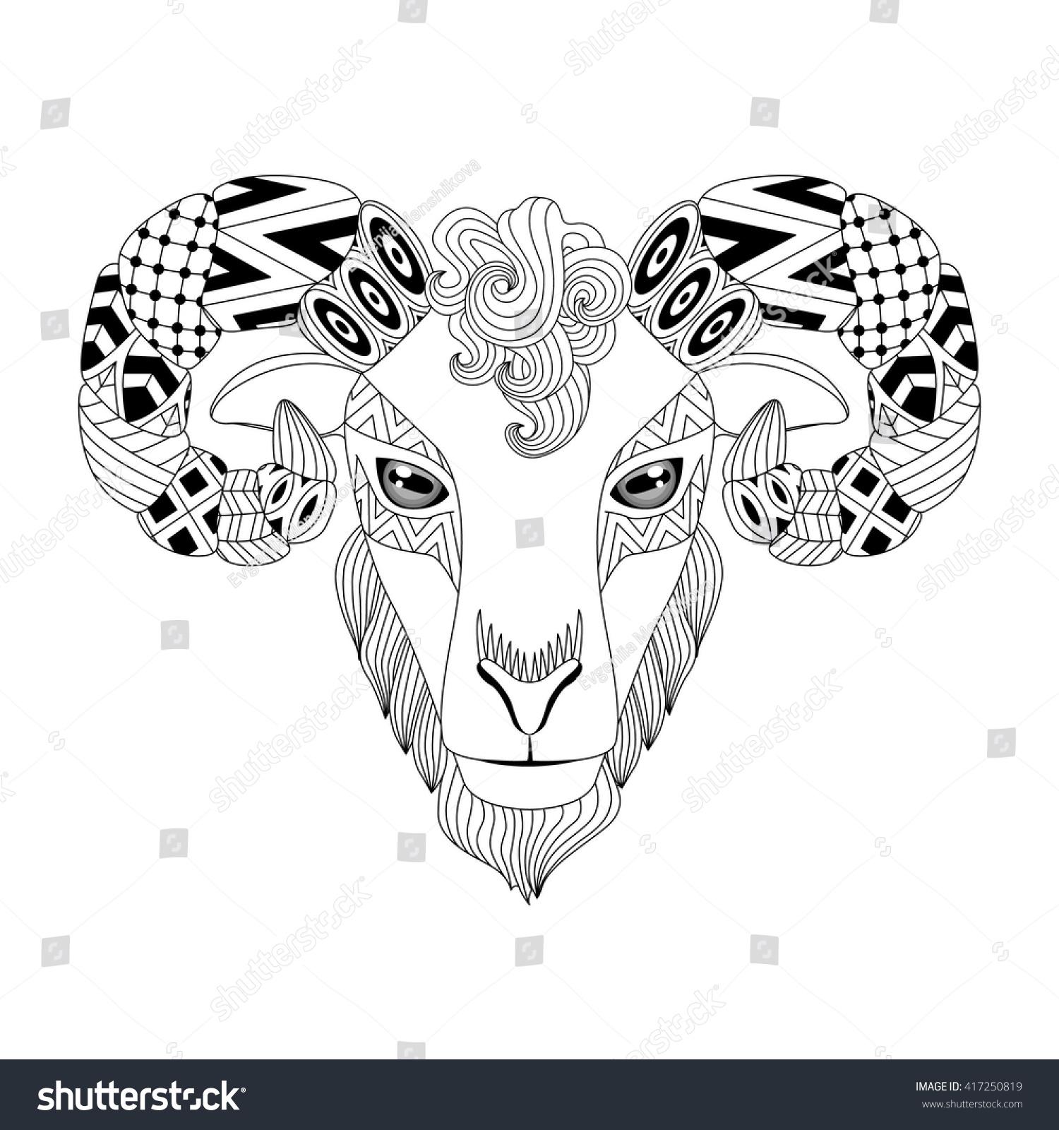 vector illustration ram aries zodiac zentangle stock vector