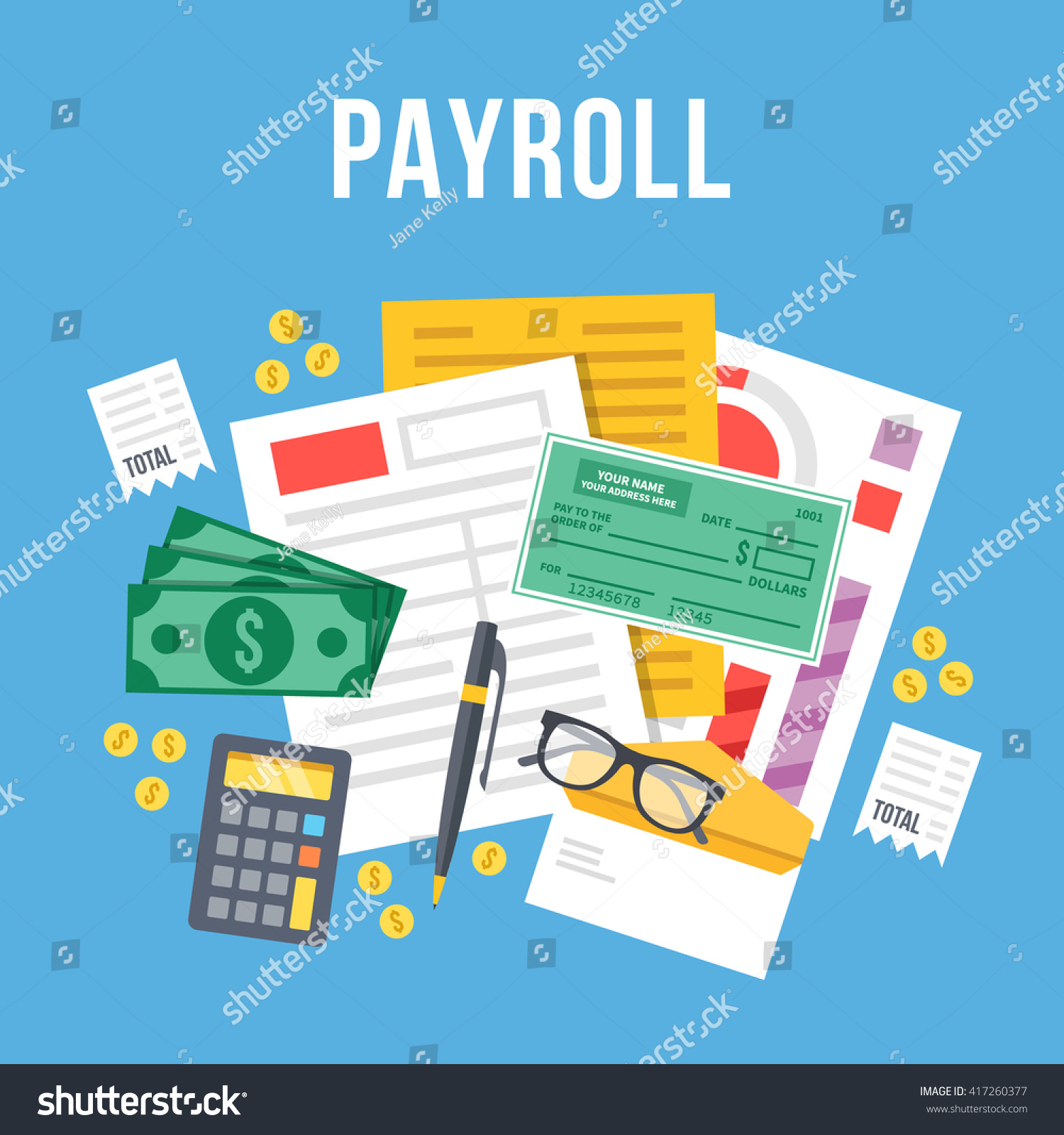 Payroll Invoice Sheet Flat Illustration Payroll Stock