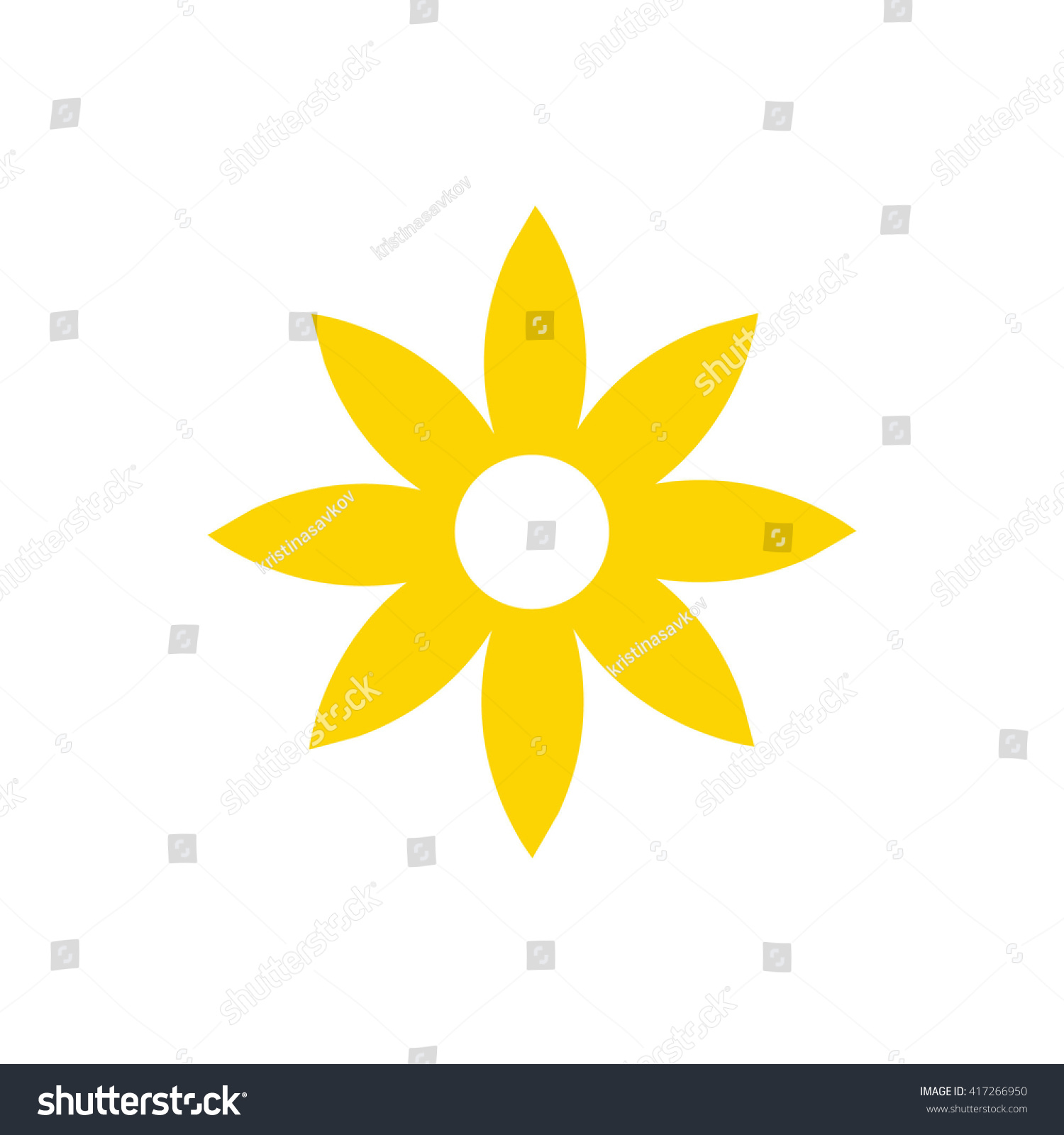 Yellow Flower Icon Vector Illustration Stock Vector Royalty Free
