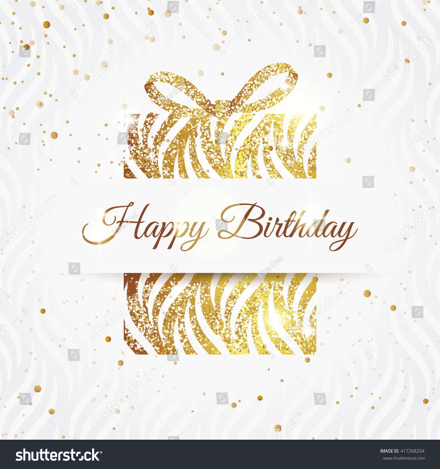 Happy Birthday Elegant Card Golden Gift Stock Vector Royalty Free