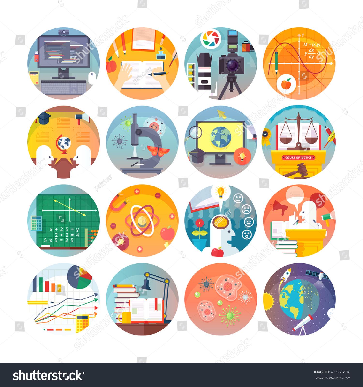 Education Science Flat Circle Icons Set Stock Vector