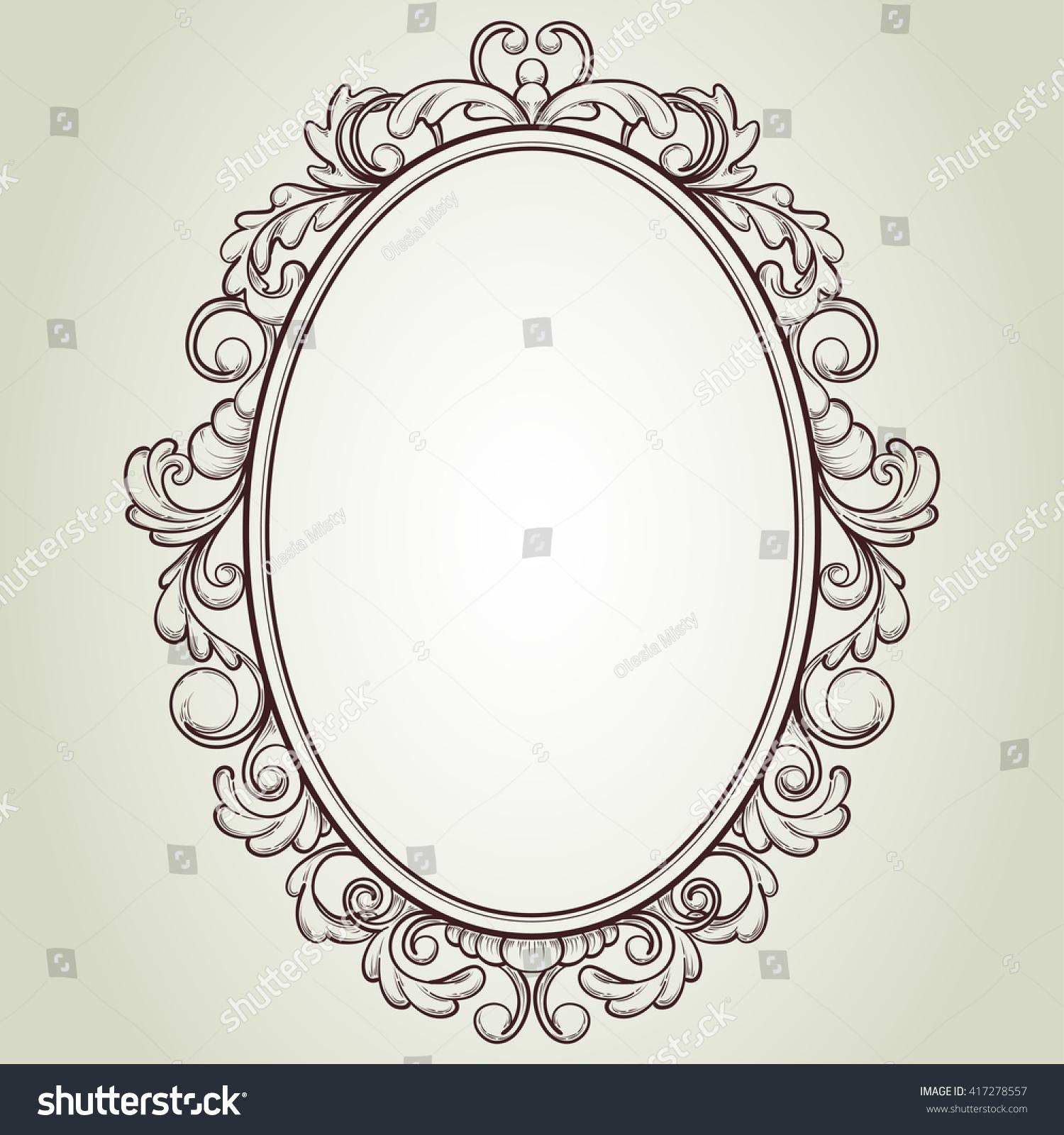 vintage frame design oval. Vector Oval Vintage Frame, Floral Sketch Design #417278557 Frame