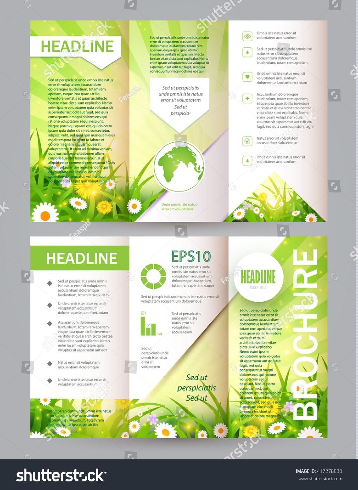 Eco Brochure Flower Flyer Nature Field Vector de stock (libre de ...