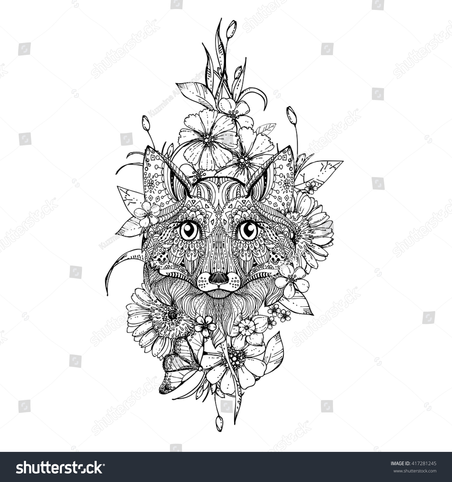 hand drawn ink doodle fox flowers stock vector 417281245