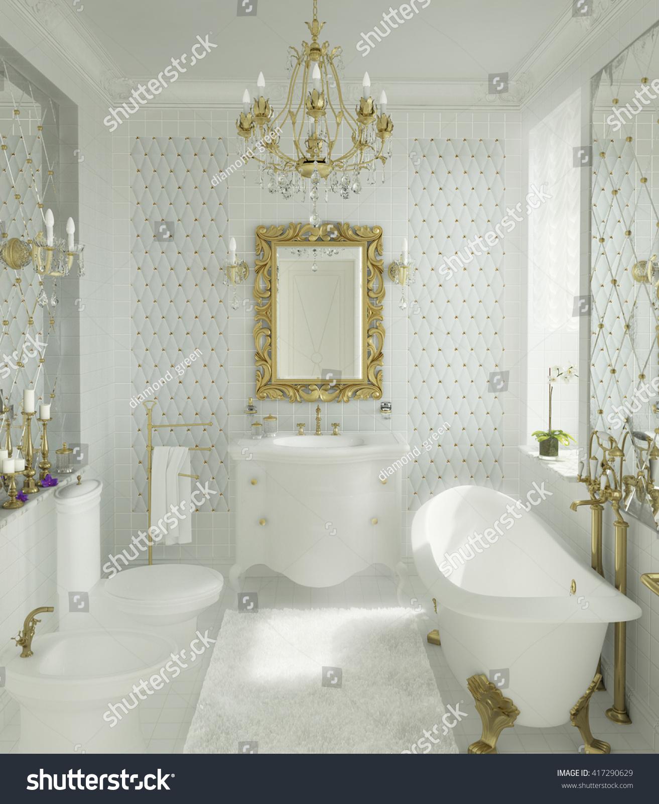 3d Illustration Luxury Bathroom White Gold Stock Illustration
