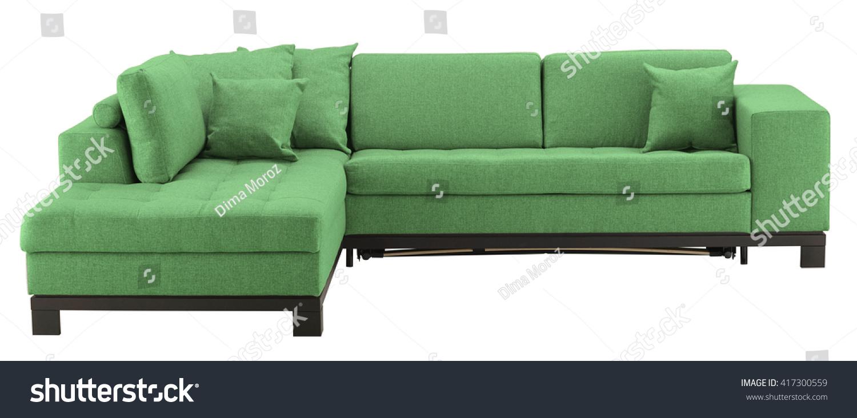 Green Corner Sofa Isolated On White Stock Photo (Edit Now ...