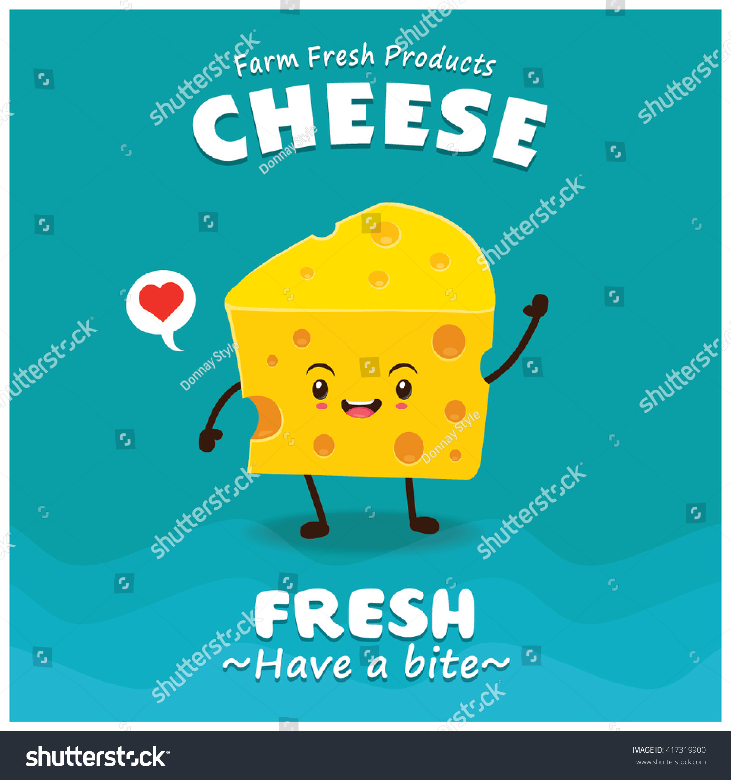 Poster design vector - Vintage Cheese Poster Design With Vector Cheese Character