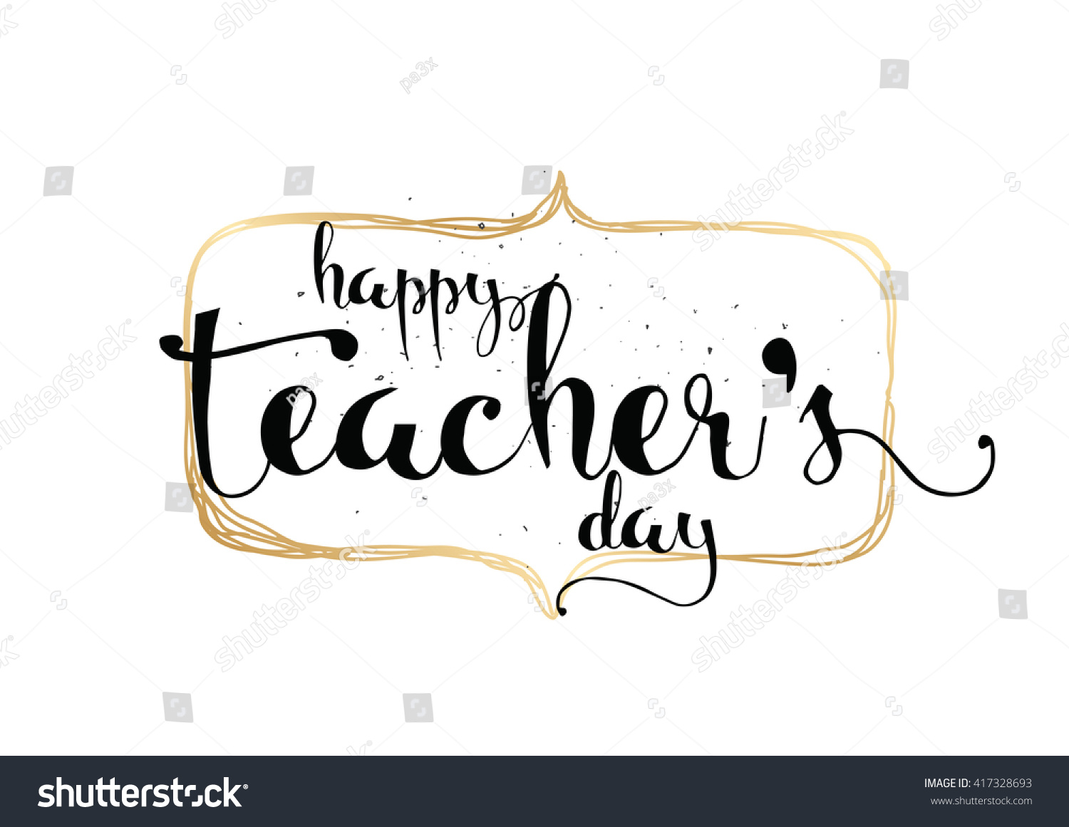 Happy teacher s day inscription greeting card with