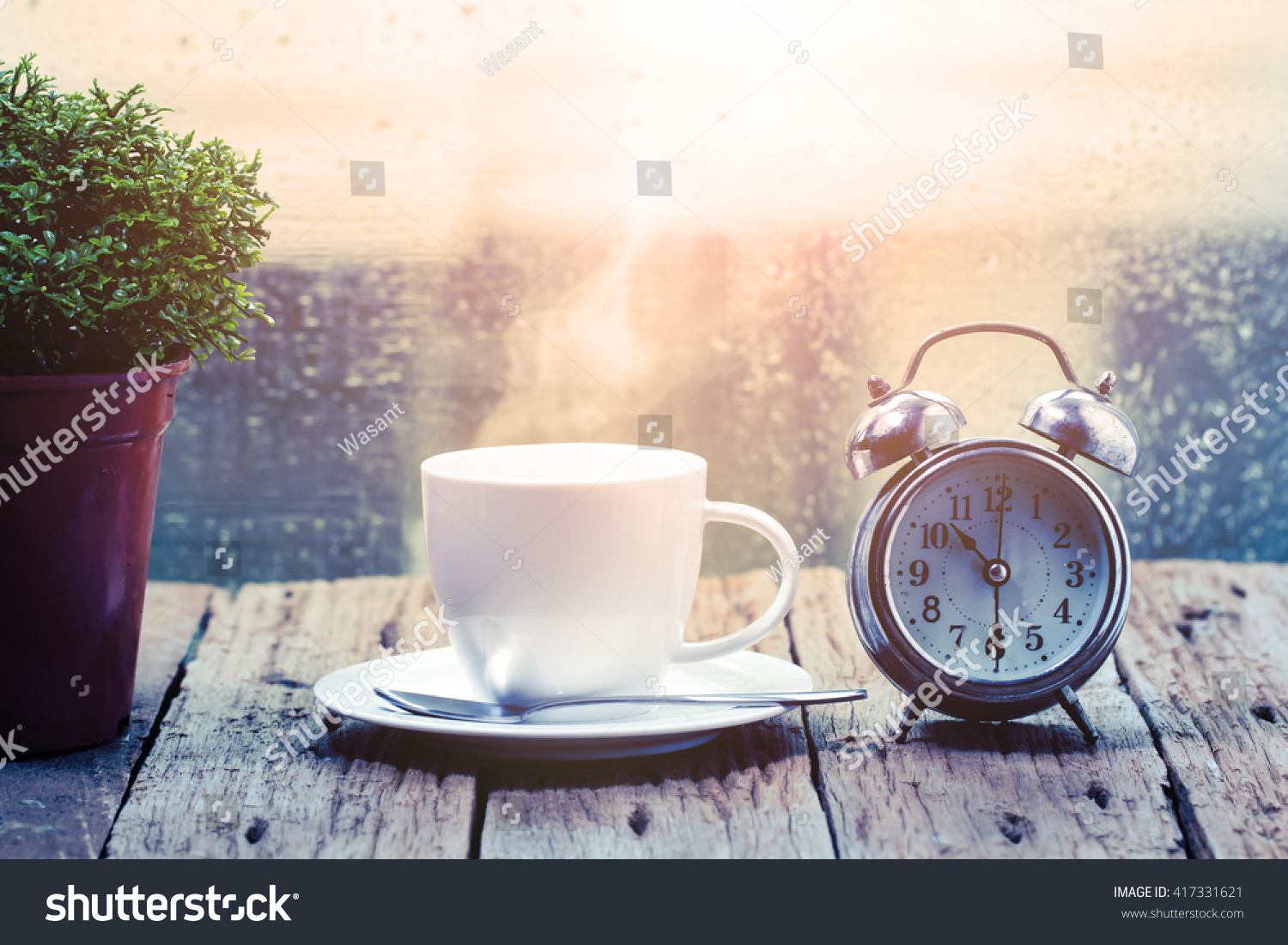 Steaming Coffee Cup On Rainy Day Stock Photo Edit Now 417331621