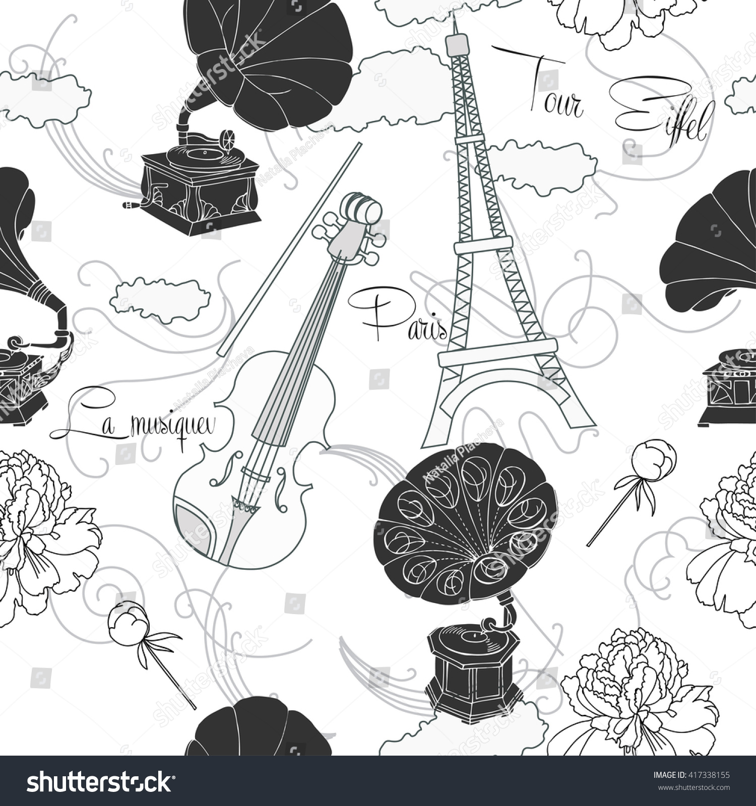 Seamless pattern with paris flowers and gramophone hand drawn sketches old record player vector music illustration vector