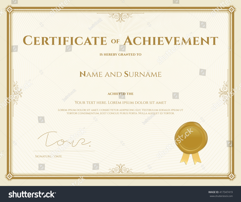 Certificate Achievement Template Vector Gold Theme