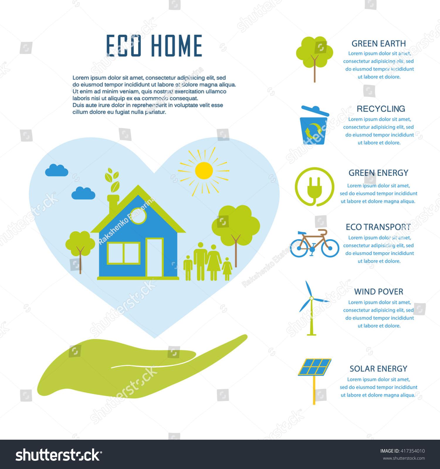 Eco Home Flat Design Ecology Concept Stock Vector 417354010 ...