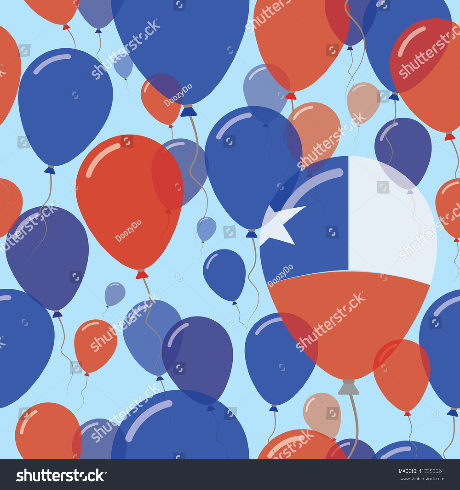 Chile national day flat seamless pattern stock vector 417355624 chile national day flat seamless pattern flying celebration balloons in colors of chilean flag biocorpaavc Images