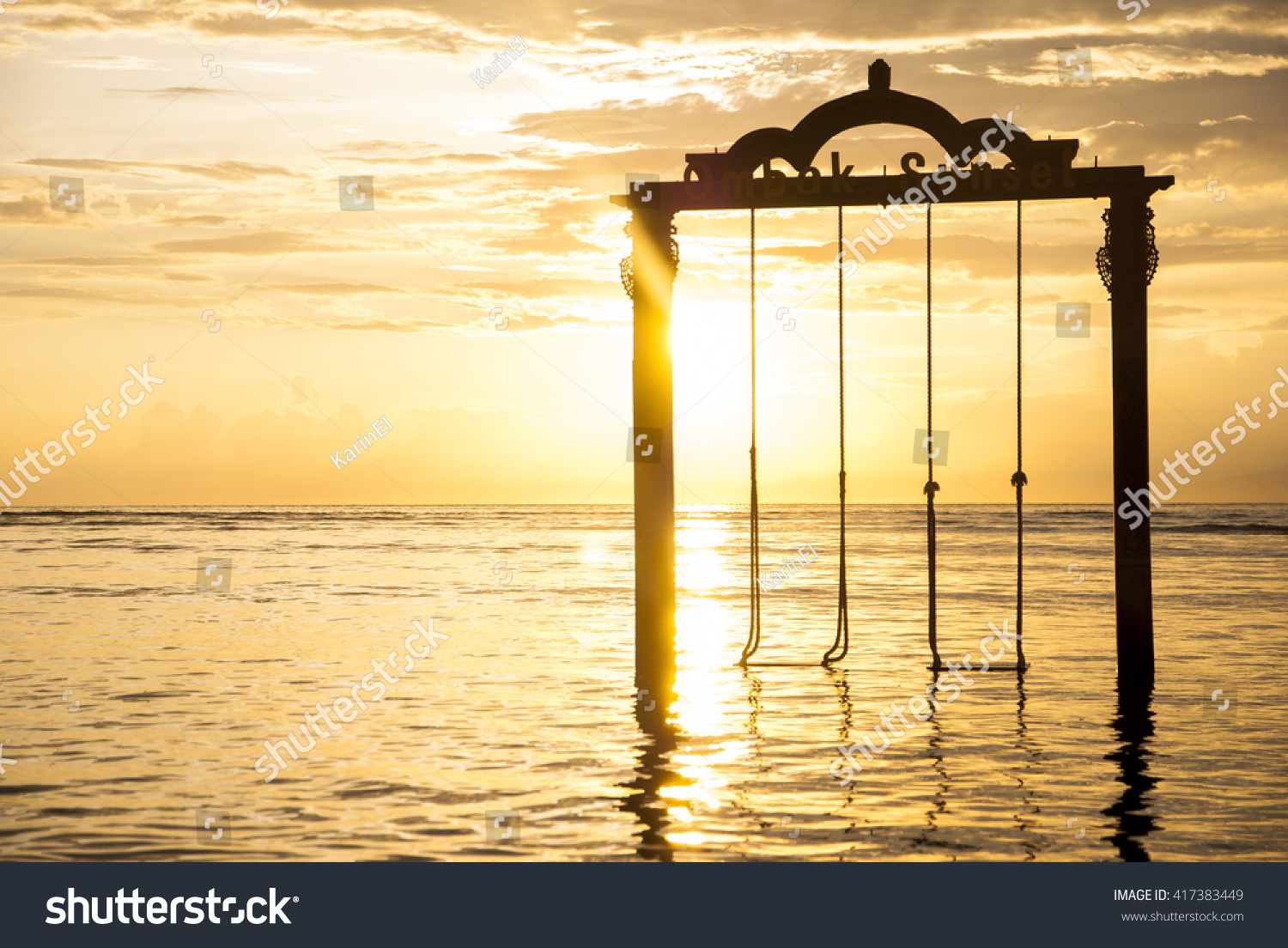 Sunset Swings Gilli Trawangan Stock Photo Edit Now