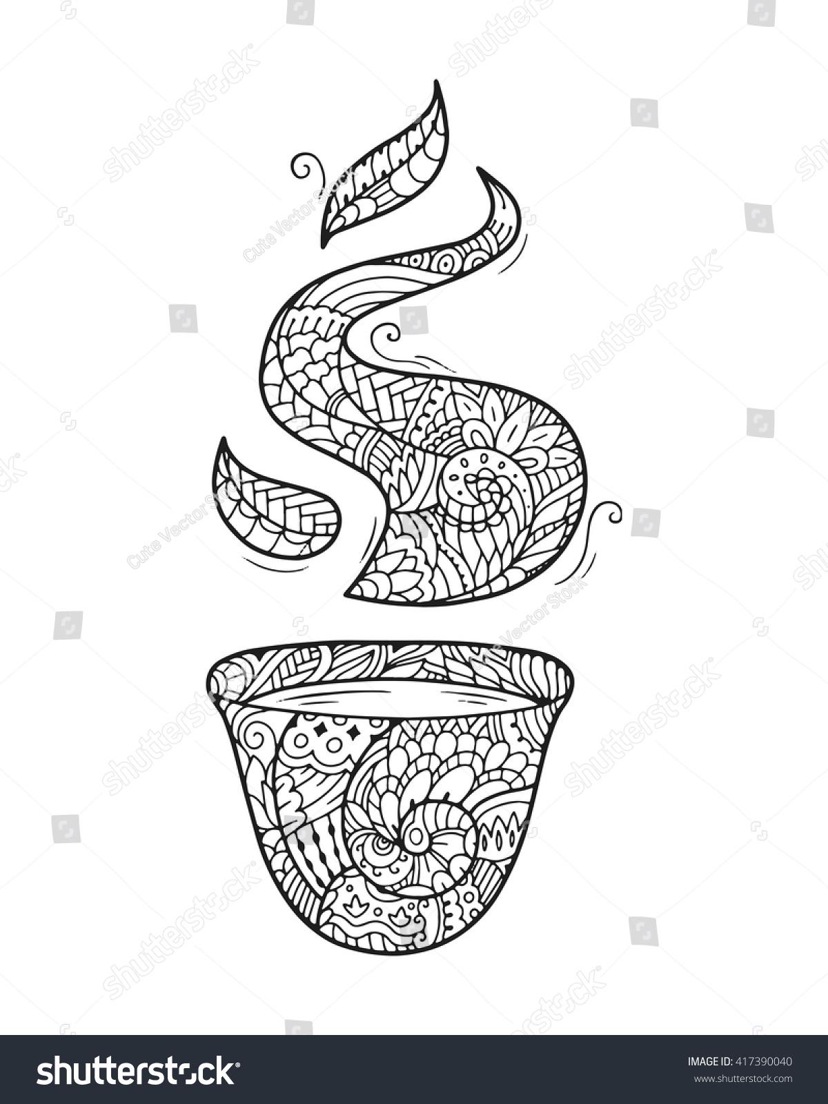 zen art cup zentangle tea stock vector 417390040 shutterstock