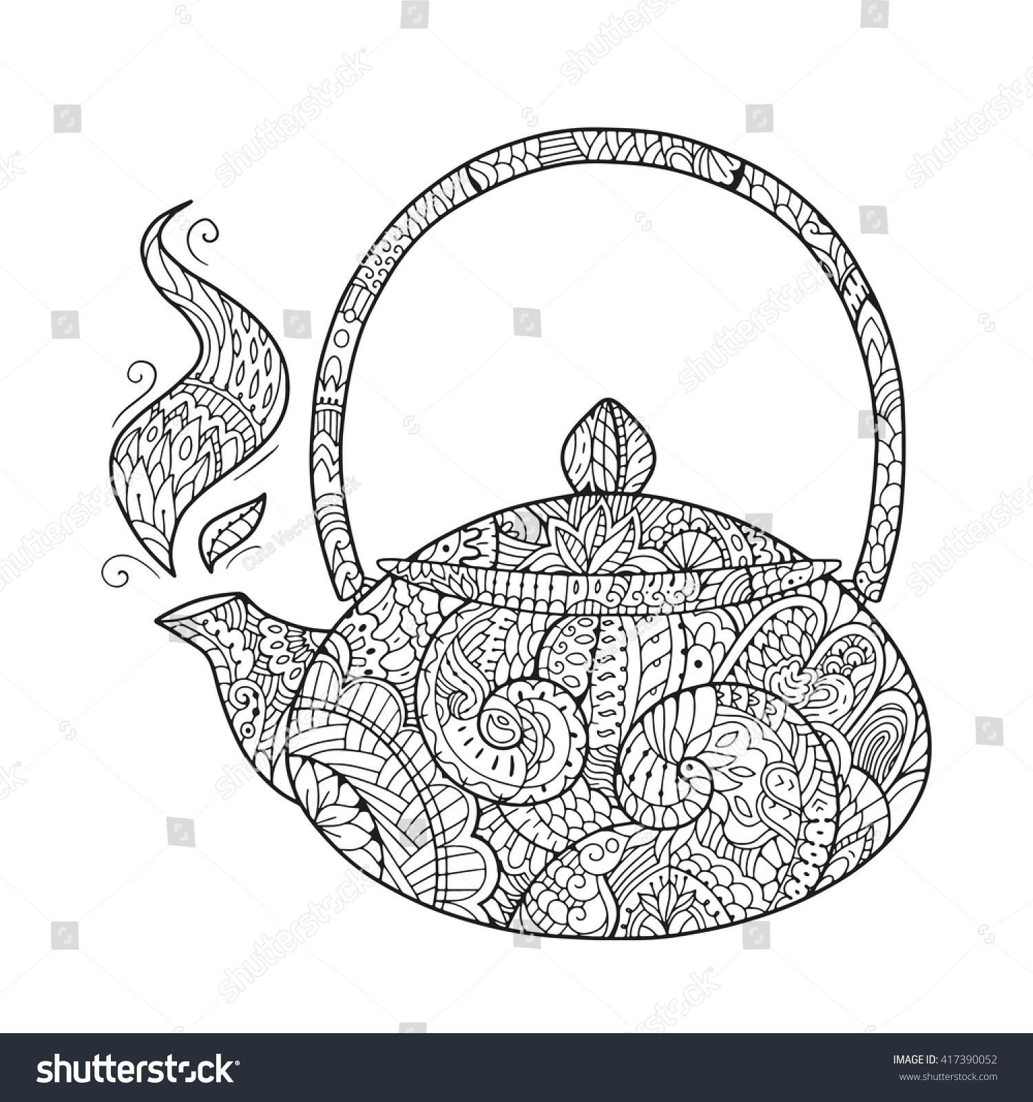 zen art teapot zentangle tea stock vector 417390052
