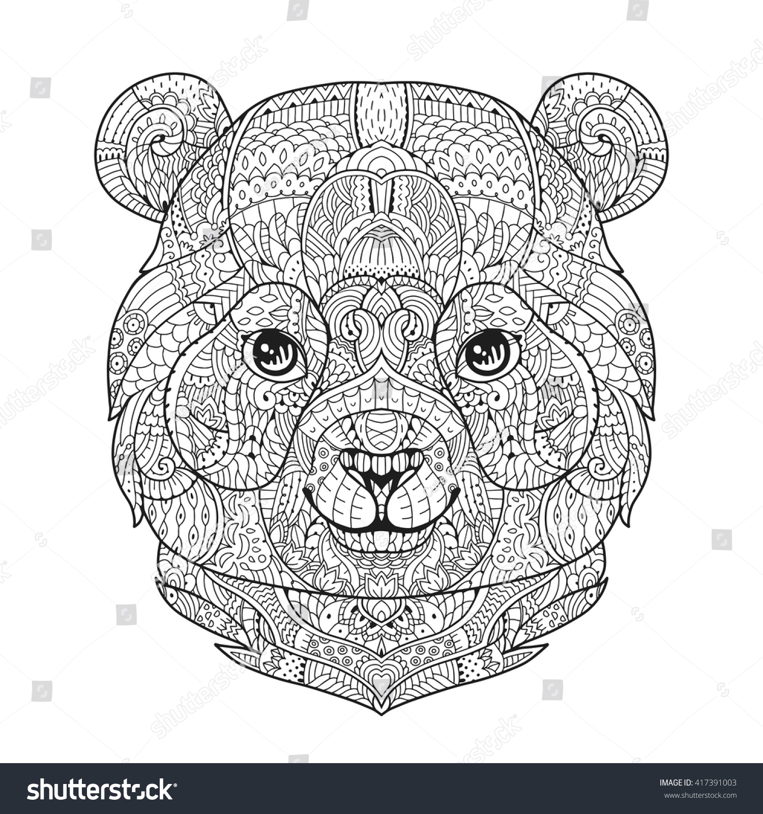 Zen art panda bear head zentangle stock vector 417391003 for Bear head coloring page