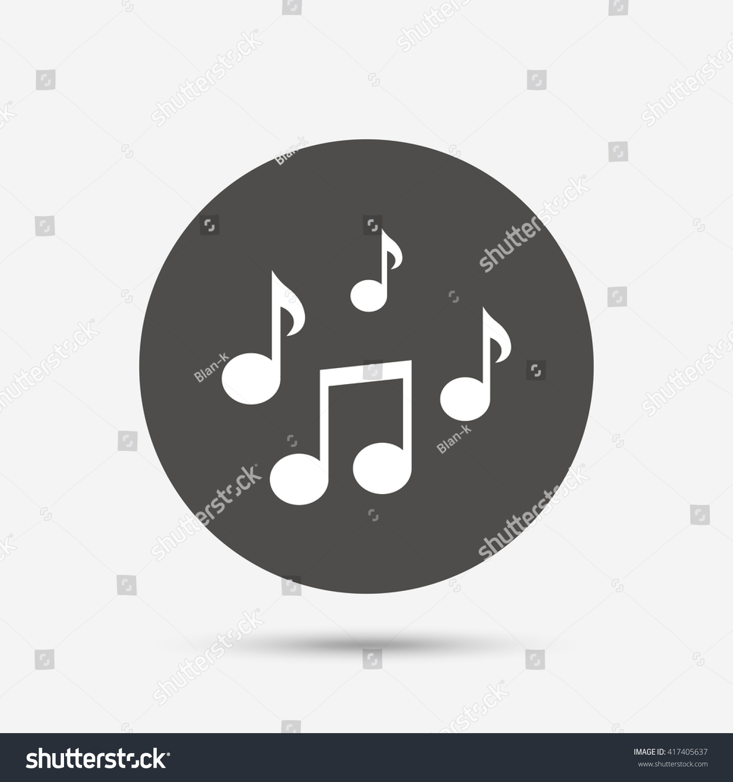Music Notes Sign Icon Musical Symbol Gray Circle Button With Icon