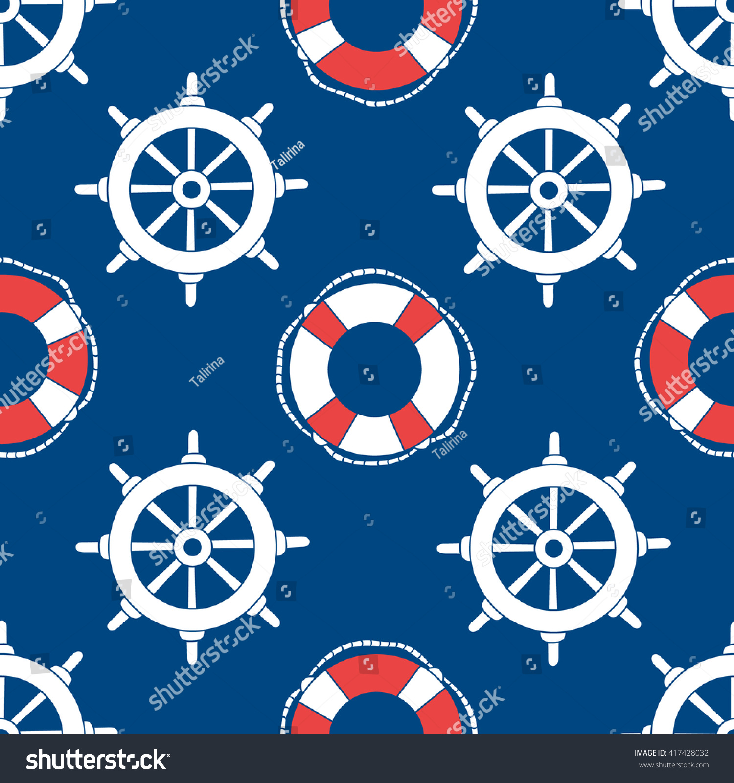 Offshore hand drawn seamless pattern seaman. Doodle marine background. Buoys and marine steering wheels