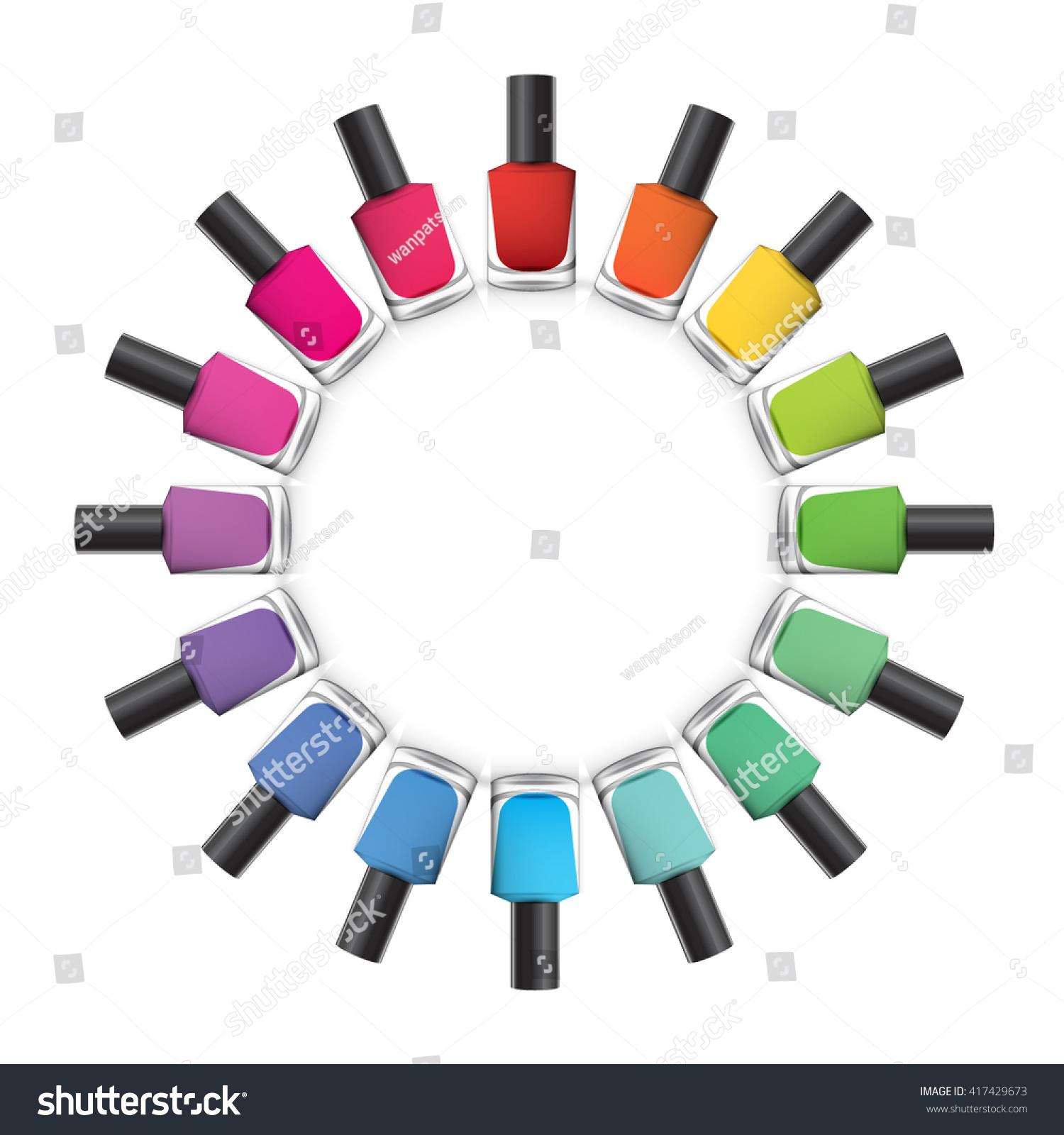 Nail Polish Bottles Stacked Circle On Stock Vector (2018) 417429673 ...