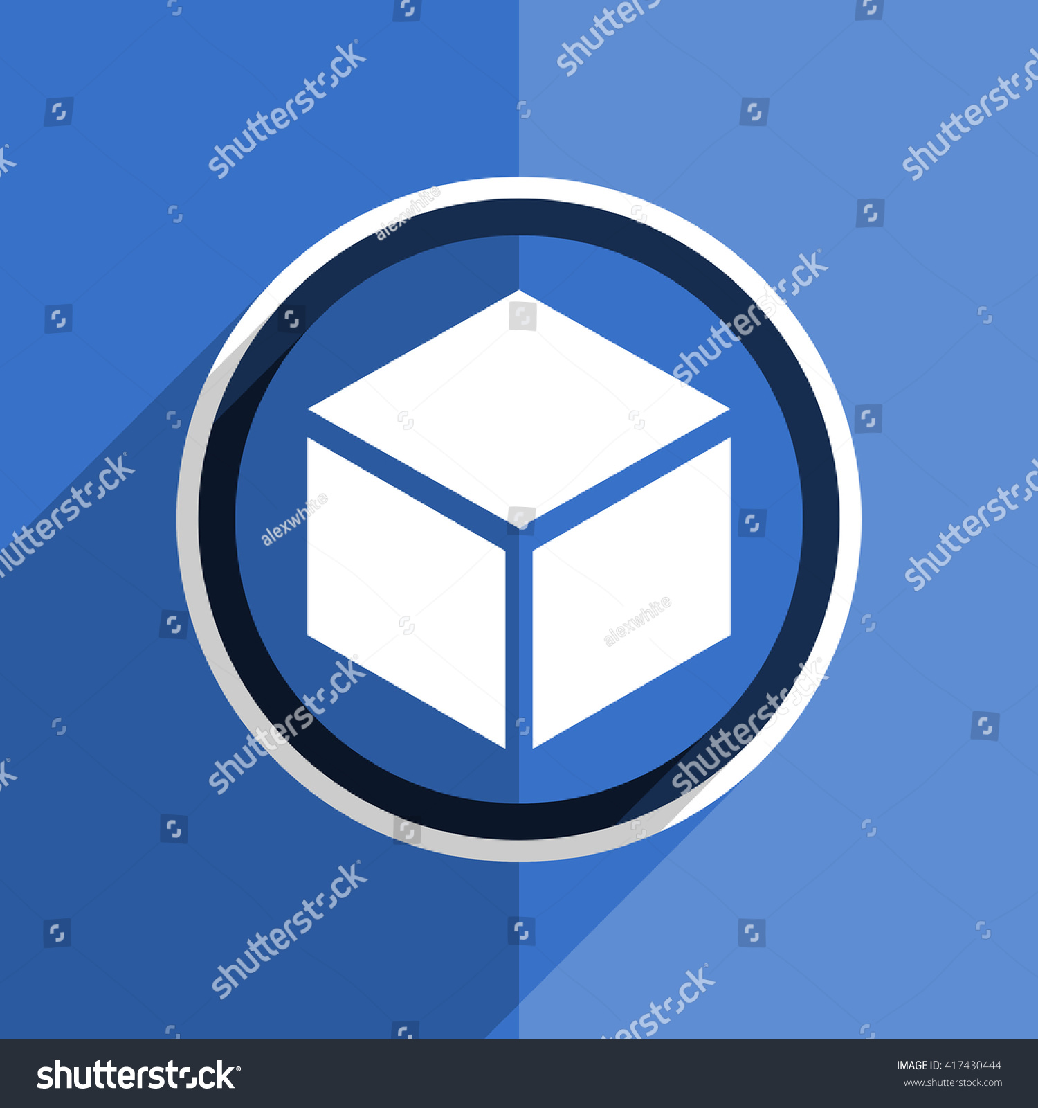Flat Design Blue Box Web Modern Stock Illustration 417430444