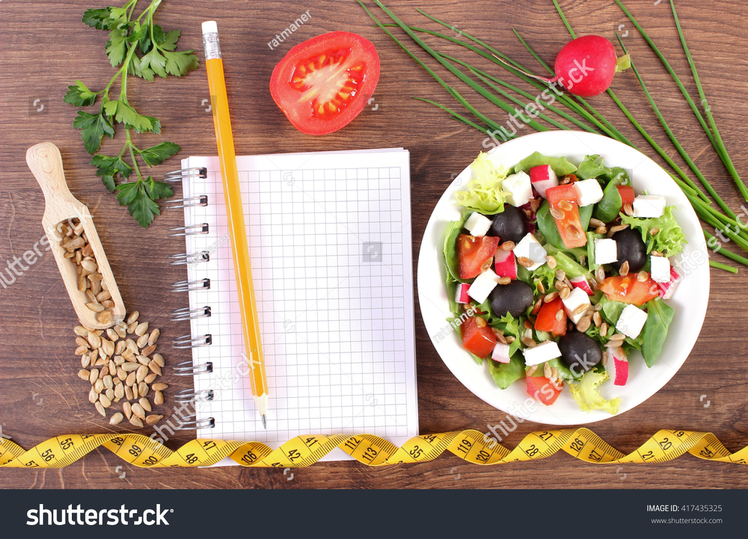 Fresh Greek Salad Vegetables Tape Measure Stock Photo ...