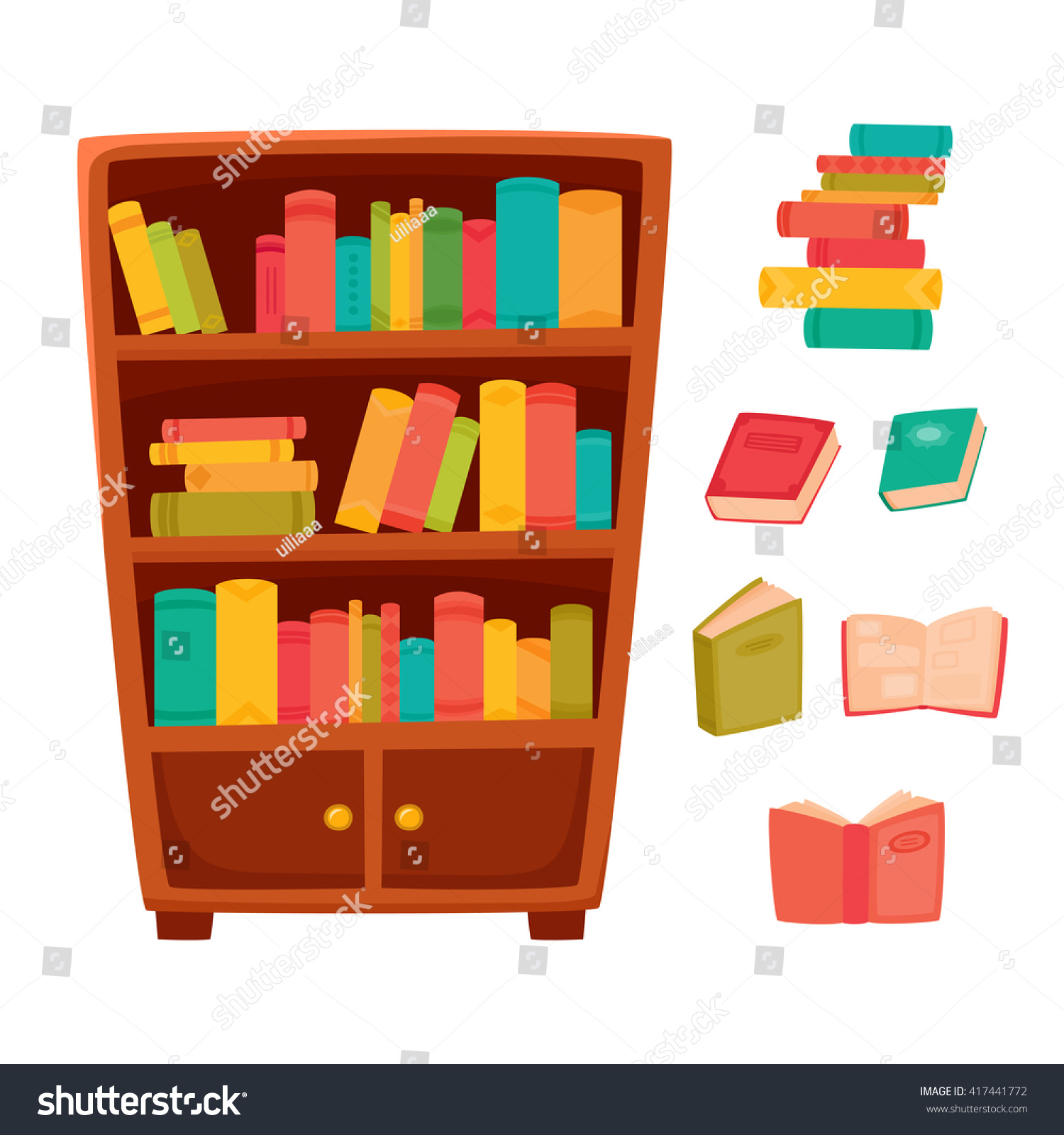 Interior wooden shelves free vector - Vector Illustration Of Different Books On The Shelves Of Wooden Bookcase In Bookstore Or School