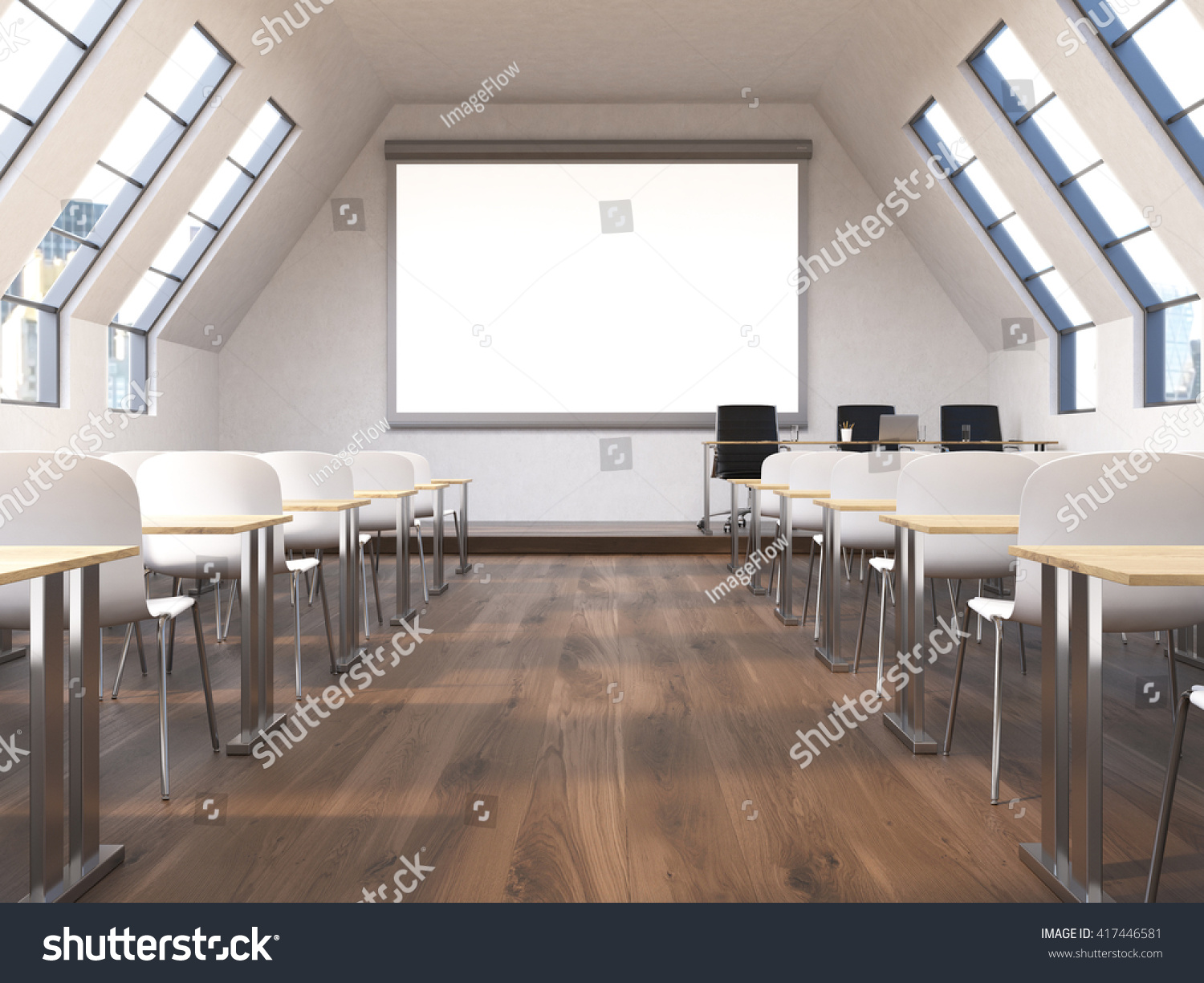 front view classroom interior blank whiteboard stock illustration