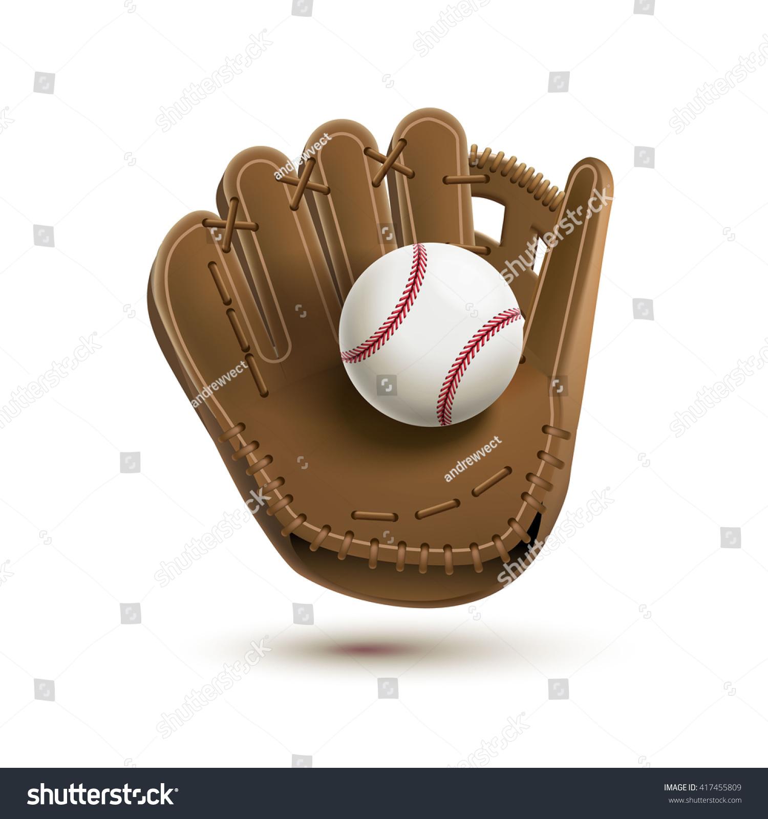 Baseball Glove Ball Isolated On White Vector de stock (libre de ...