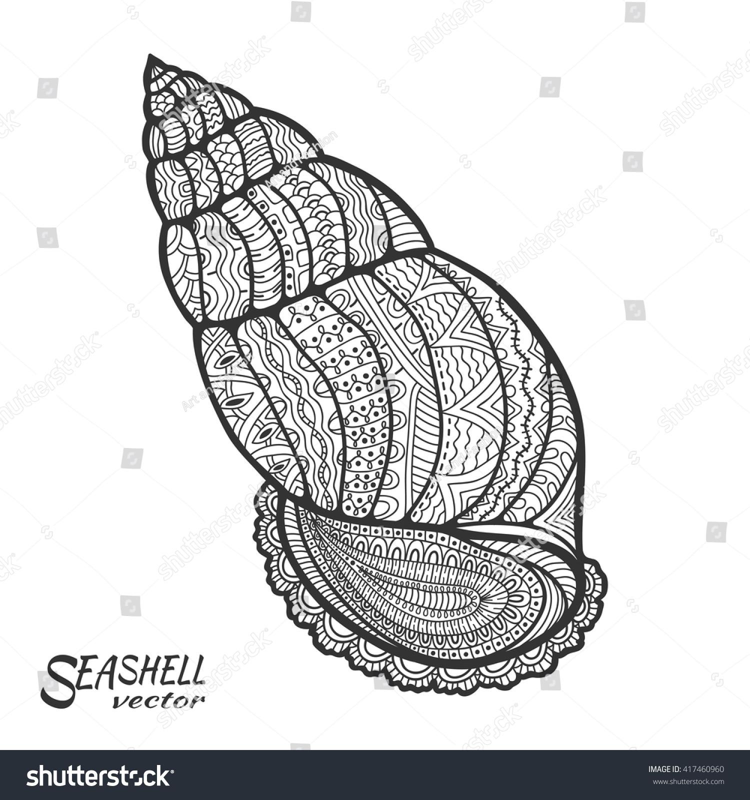 Zen ocean colouring book - Zentangle Stylized Seashell Hand Drawn Doodle Sea Shell Pattern Marine Ocean Life Coloring