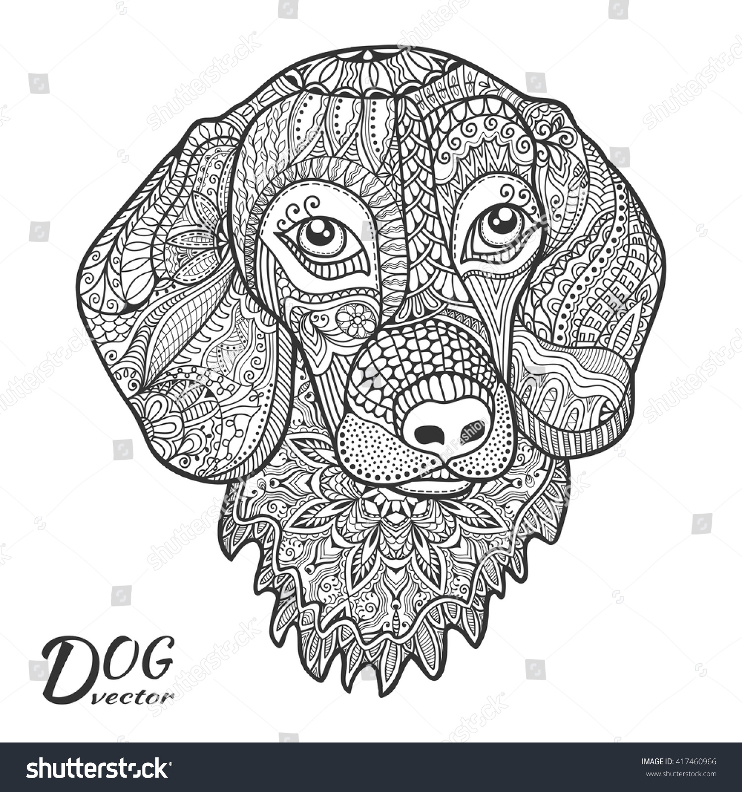 Dog Hand drawn stylized animal head with ethnic floral pattern zen-doodle style art Sketch animal collection for coloring book page fabric print tattoo design Isolated black on white background