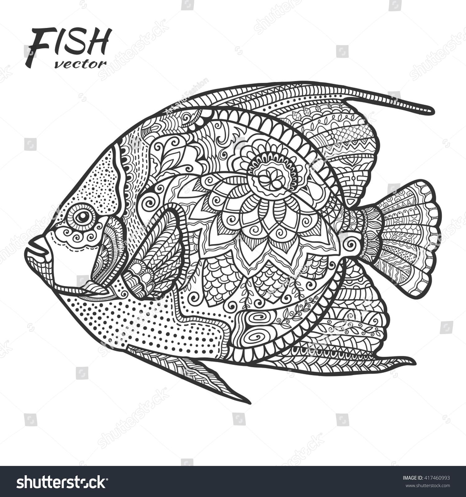 Zen ocean colouring book - Hand Drawn Stylized Sea Fish Ethnic Floral Pattern Zen Doodle Style Art