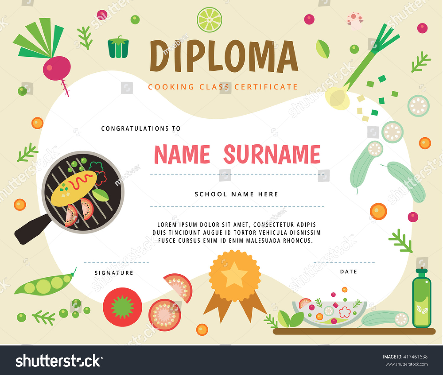 Cooking School Kids Diploma Certificate Stock Vector 417461638 - Shutterstock