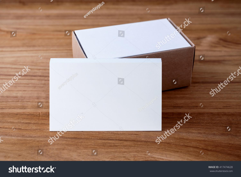 Business Card Blank Mockup Kraft Box Stock Photo (Royalty Free ...