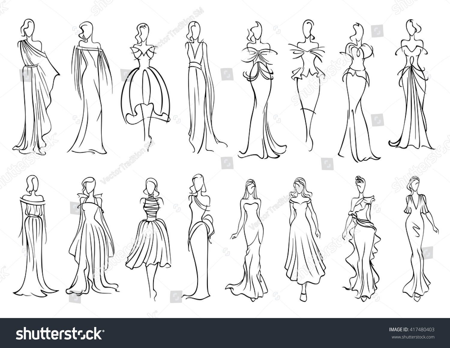 Line Silhouettes In Fashion Design : Fashion models sketched silhouettes elegant young stock