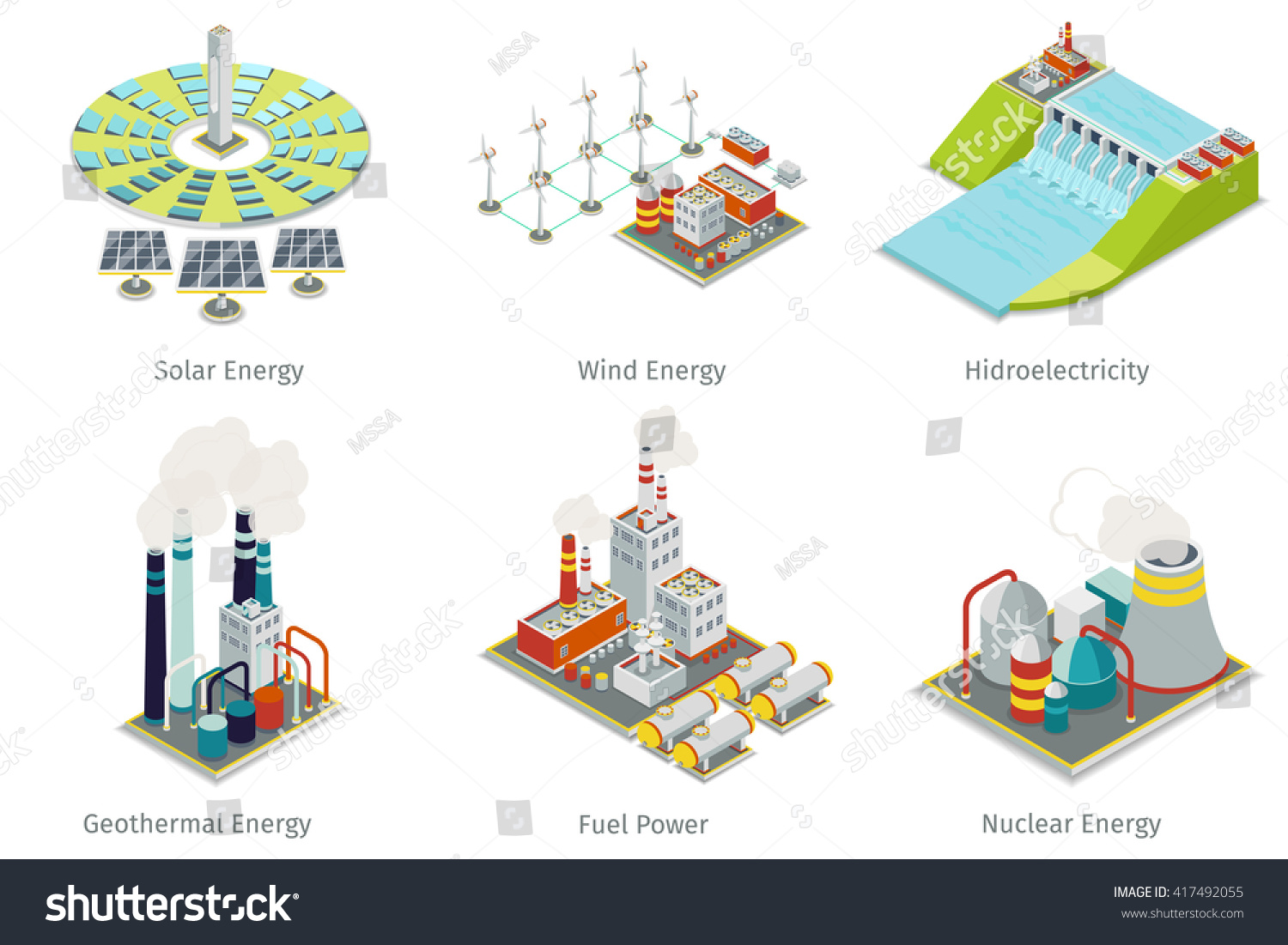 Power Plant Icons Electricity Generation Sources Stock Vector Generating Diagram Hydroelectricity Geothermal Solar And Wind Energy
