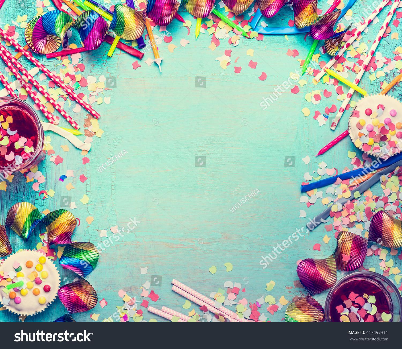 Happy Birthday Frame Party Tools Cake Stock Photo (Edit Now ...