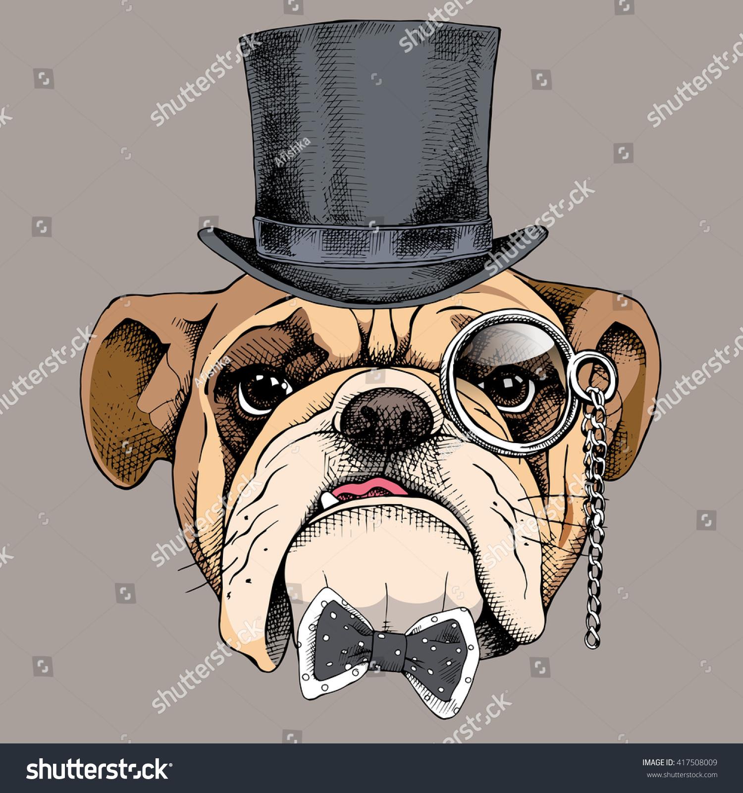 a68c33f9329 Bulldog Portrait Bowler Hat Tie Monocle Stock Vector (Royalty Free ...