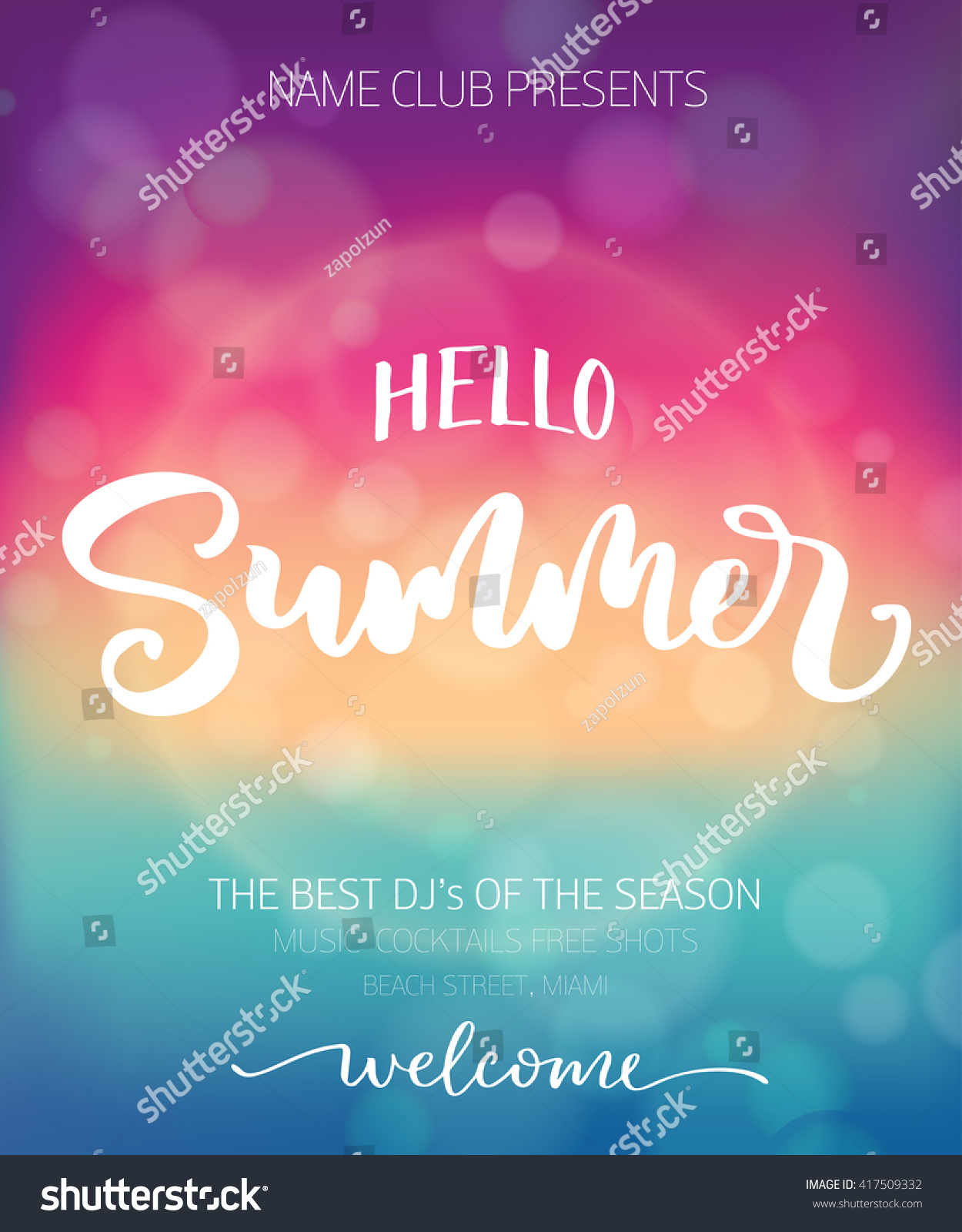 poster template hello summer lettering blurred stock vector royalty