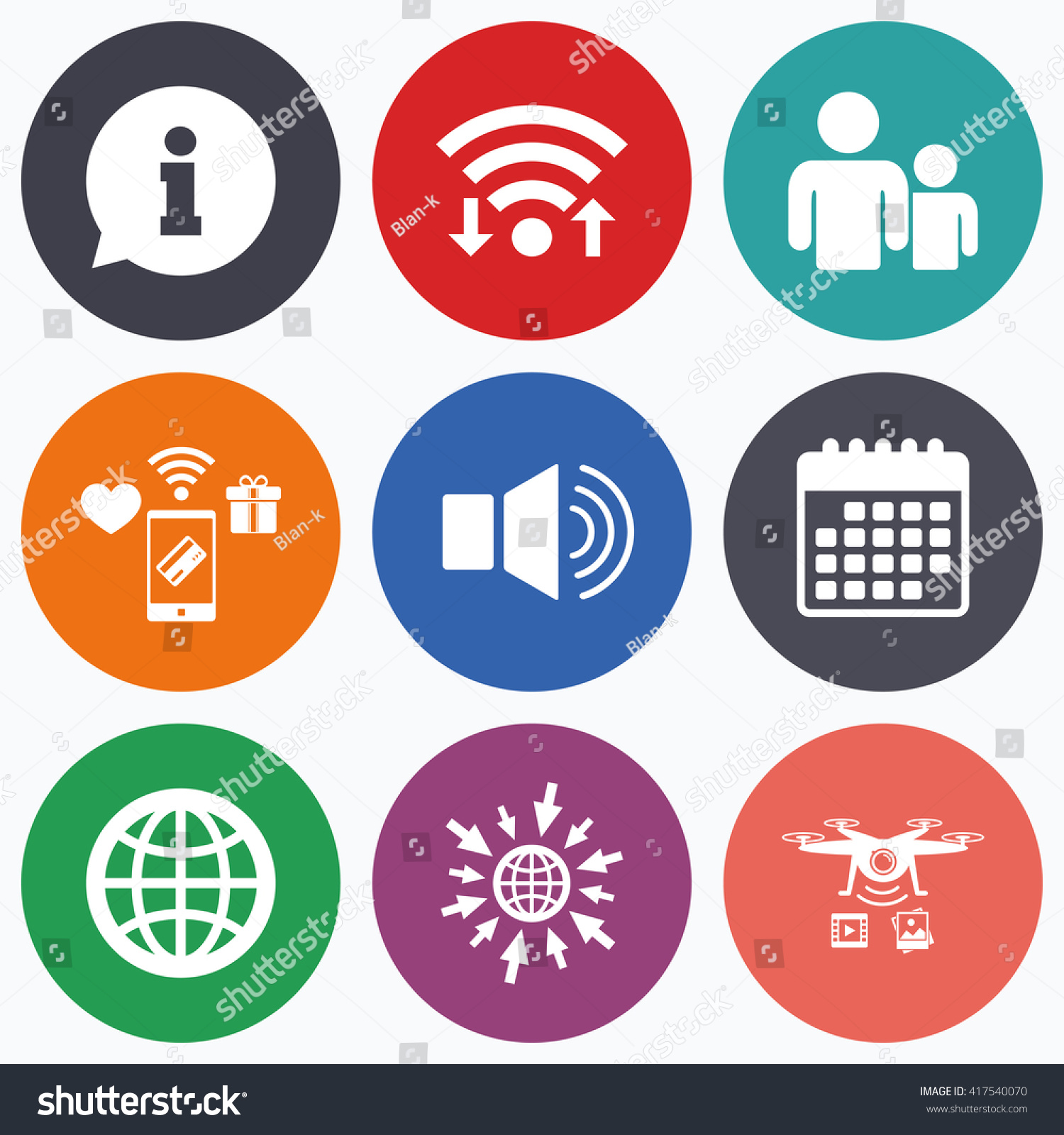 Wifi Mobile Payments And Drones Icons Information Sign Group Of