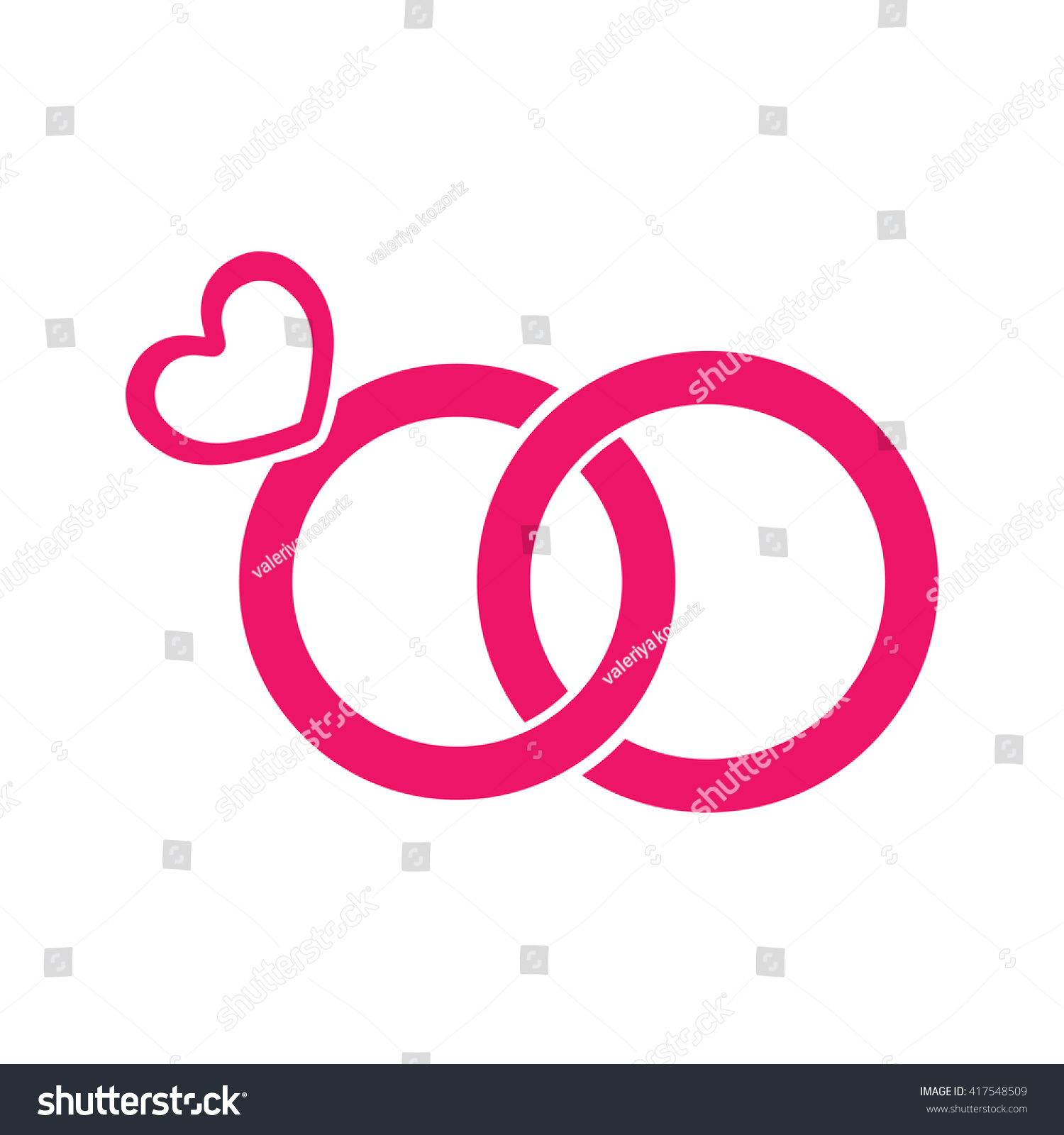 Wedding Ring Jewellery Love Red Pink Stock Vector 417548509 ...
