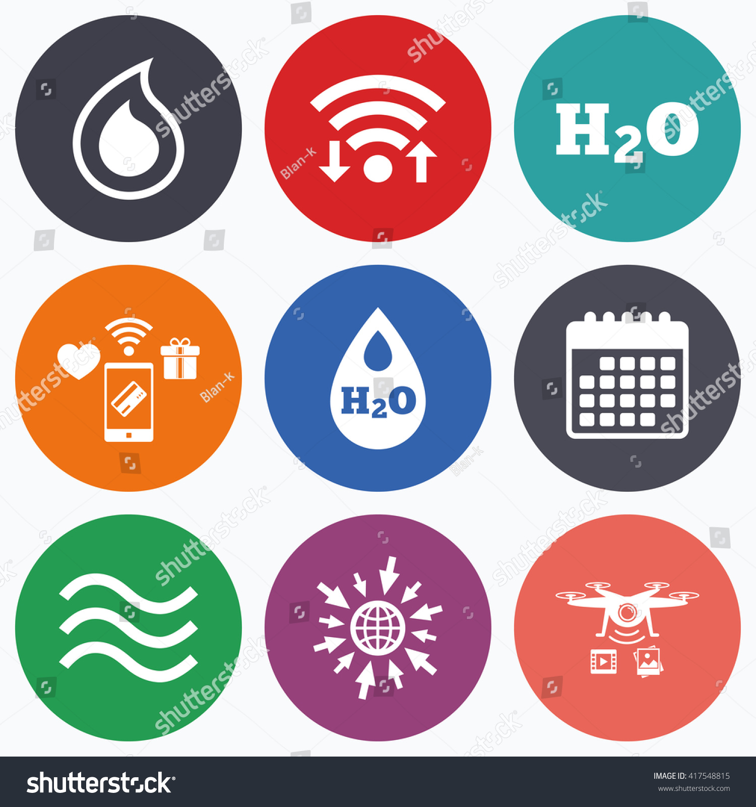 Wifi Mobile Payments Drones Icons H 2 O Stock Vector 417548815