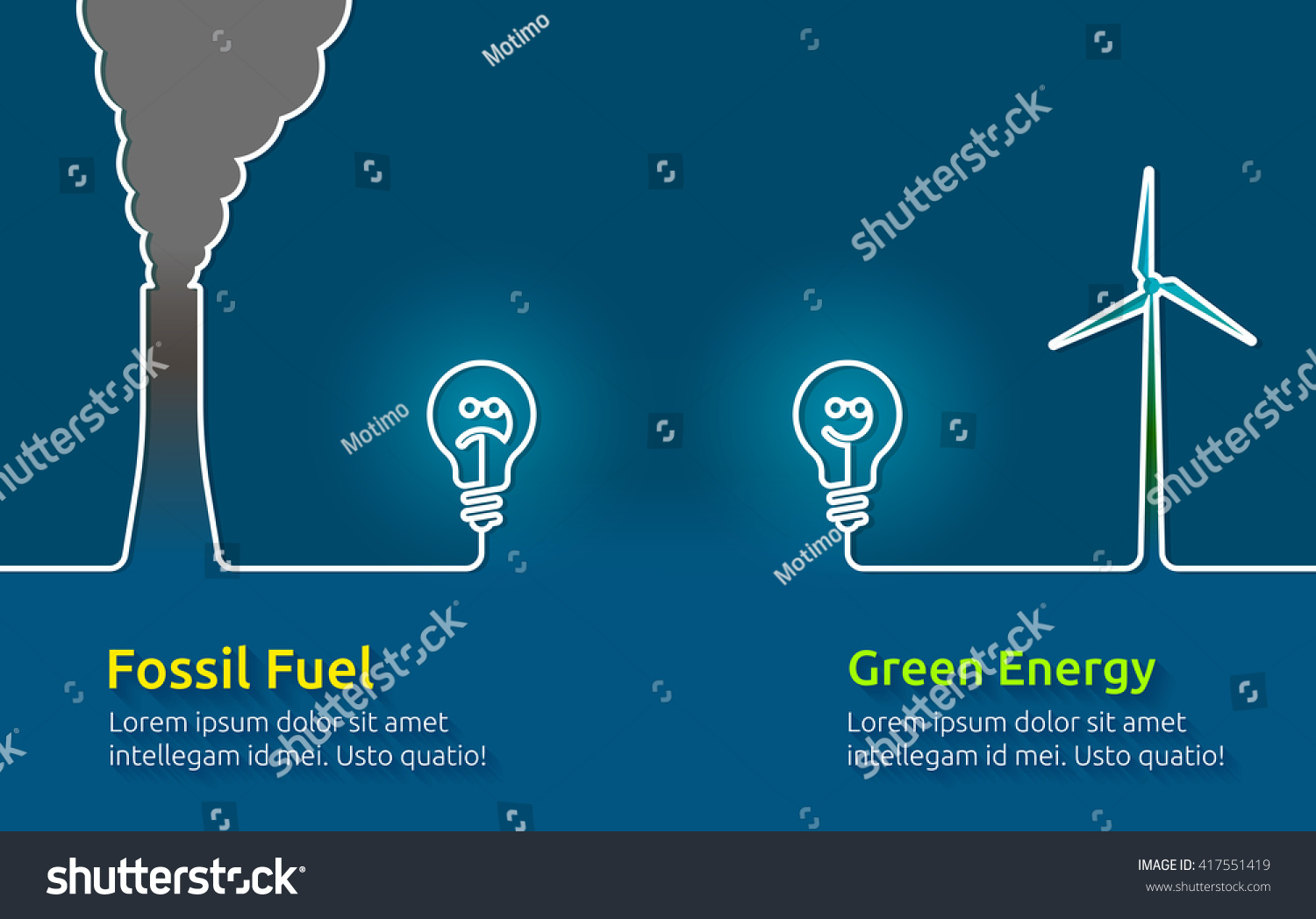 Green Energy Vs Polluting Fossil Fuels Stock Vector
