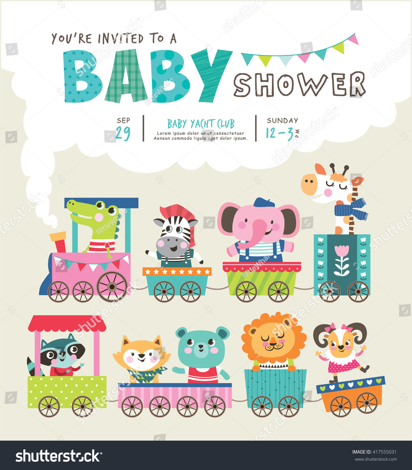 Baby Shower Invitation Card Cute Animals Stock Vector
