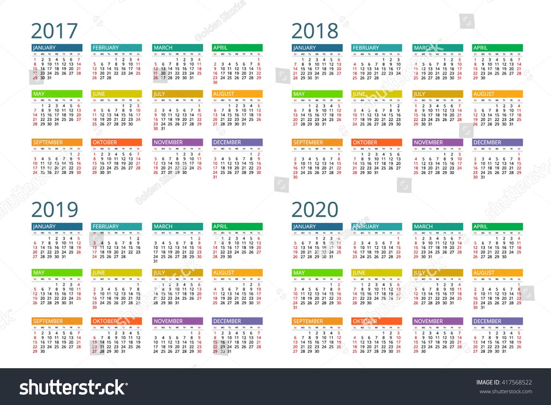 calendar 2017 2018 2019 2020 vector design flayer banner