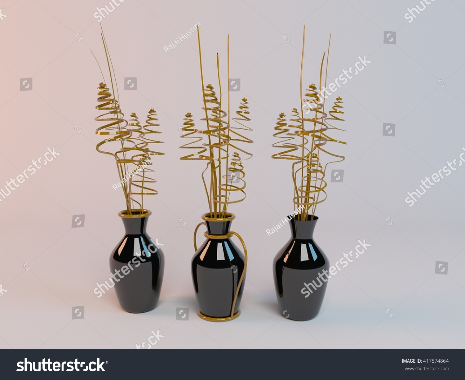 Three black vase inside 3d white stock illustration 417574864 three black vase inside a 3d white stage rendering reviewsmspy