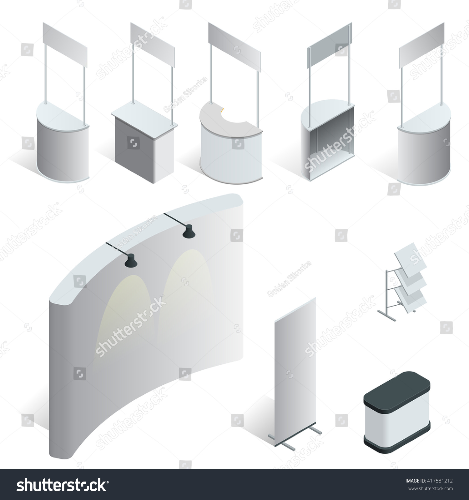 Exhibition Stand Wallpaper : Isometric set exhibition stands trade stock vector